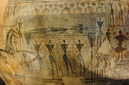 Dipylon Vase showing Prothesis Scene: exposure of the dead and mourning (detail of crater— silhouette on terra cotta). From the Dipylon Cemetery, Athens.